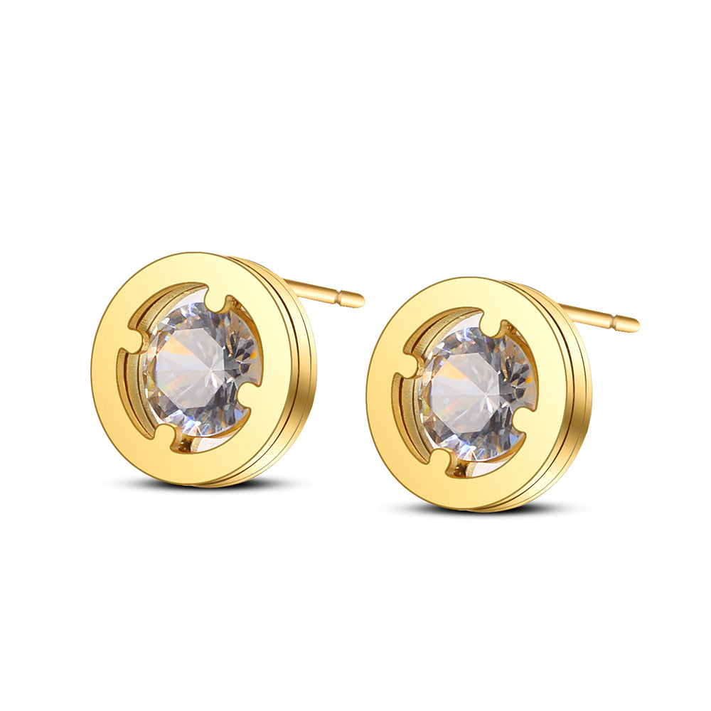 Marley Round Stud Earrings-Romatco