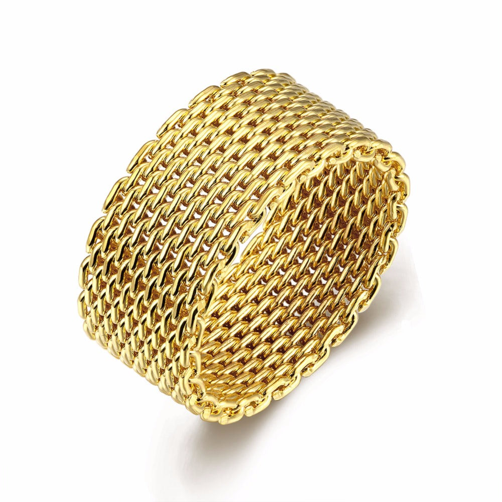 22K Gold plated Woven Mesh Ring-Gold - Romatco Jewelry