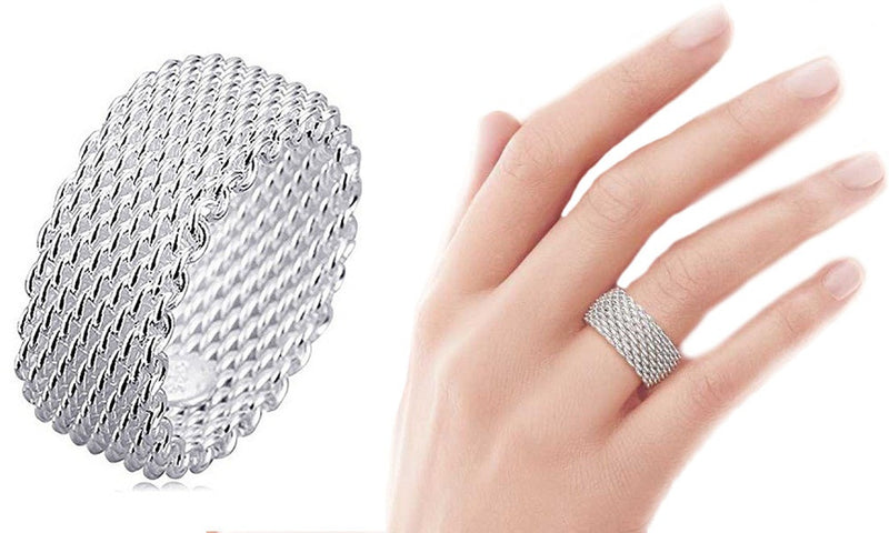 18K White-Gold Plated Woven Mesh Ring-Silver-Romatco