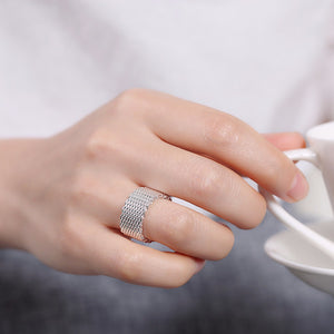 18K White-Gold Plated Woven Mesh Ring-Silver