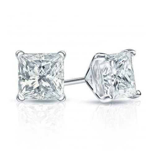 18K White-Gold Plated Princess-cut Stud Earrings-Romatco
