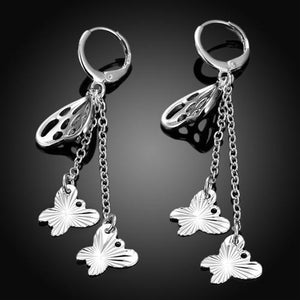 18K White-Gold Plated Drop Butterfly Earrings-Romatco