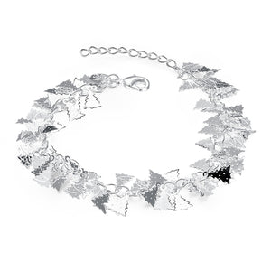 18K White-Gold Plated Tree Bracelet-Romatco