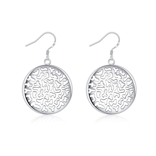 18K White-Gold Plated Round Hollow Earrings