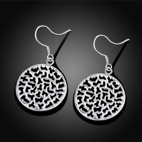 18K White-Gold Plated Round Hollow Earrings-Romatco