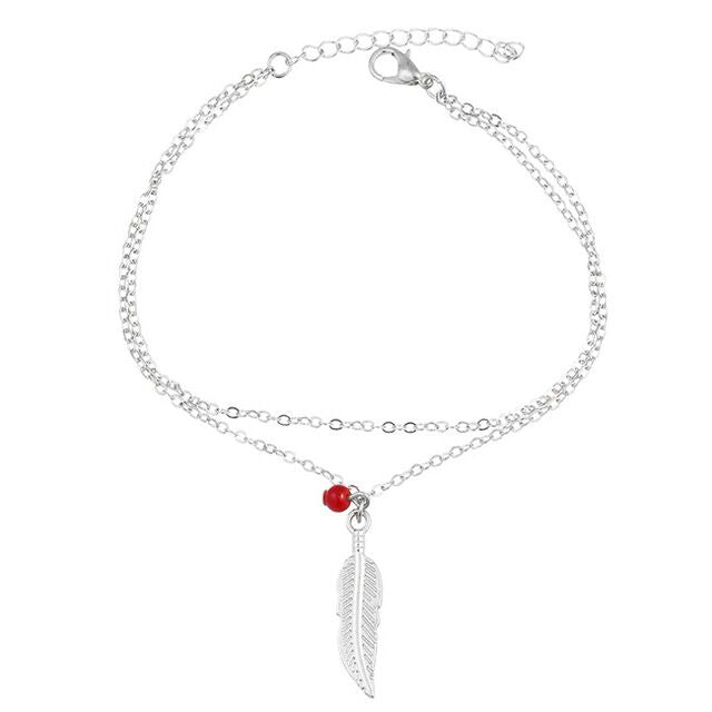 Double Layer Leaf Charm Anklet-Romatco