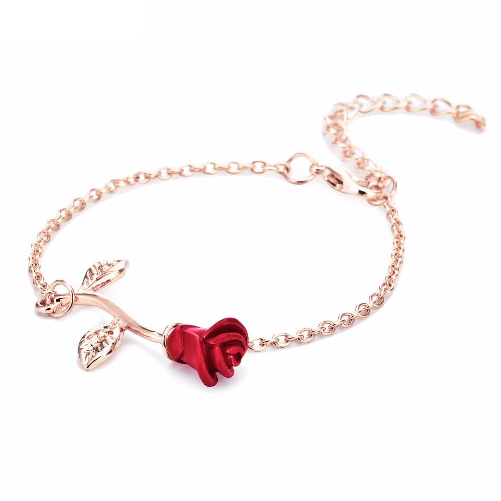Red Rose Charm Bracelet - Romatco Jewelry