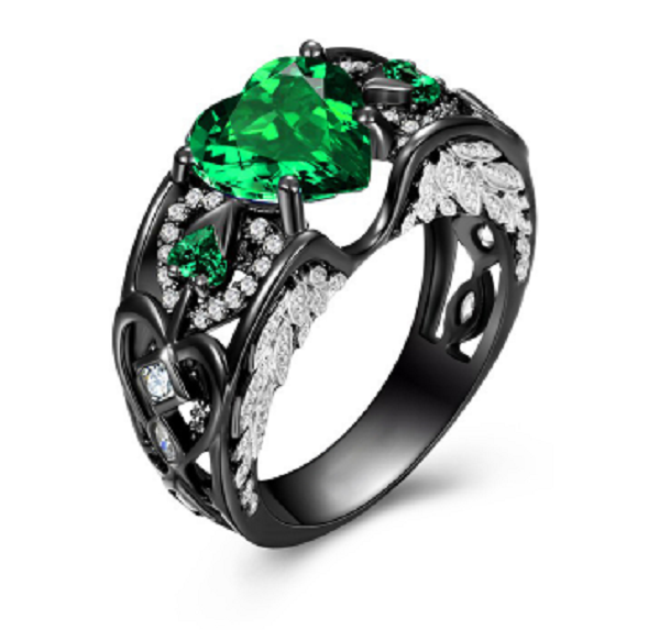 Lab Created Emerald Solitaire Heart Charcoal Black Ring - Romatco Jewelry