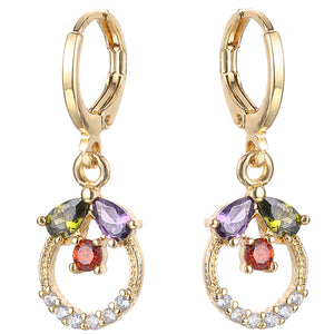 22K Gold Plated Caroline Multicolour Drop Earrings-Romatco