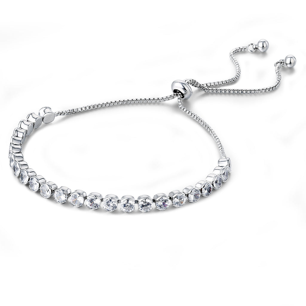 18K White-Gold Plated Tennis Bracelet-Romatco