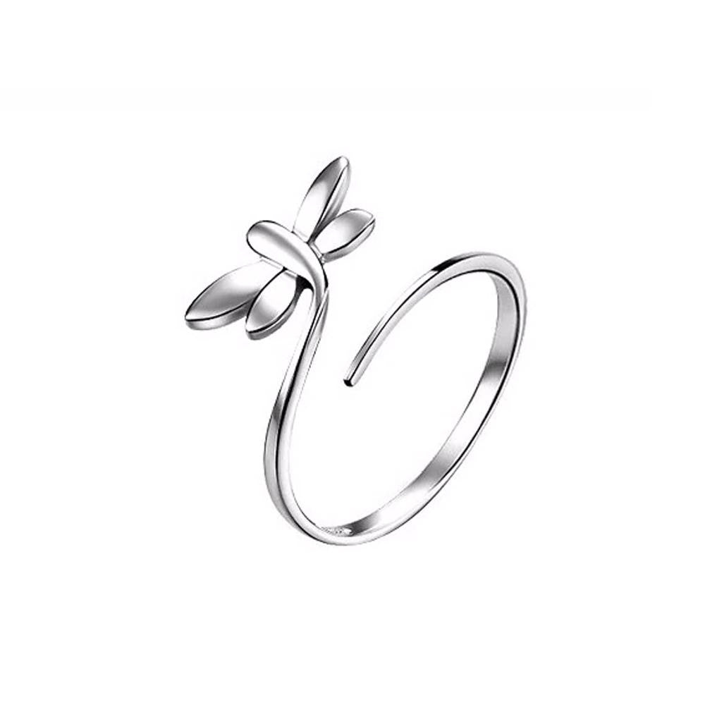 18K White-Gold Plated Dragonfly Open Ring - Romatco Jewelry