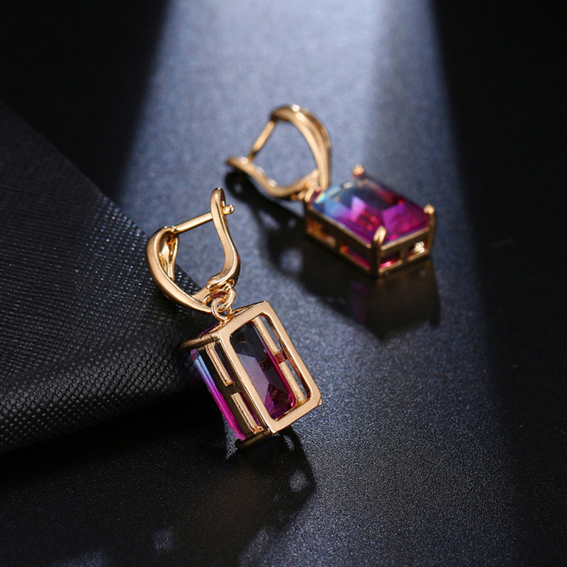 22K Gold plated Emerald Cut Earrings-Romatco