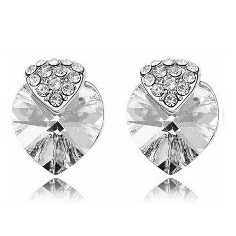 18K White-Gold plated Heart Strawberry Earrings-Romatco