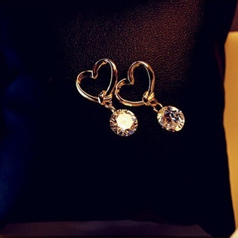 22K Gold plated Hollow Love Heart Earrings-Romatco