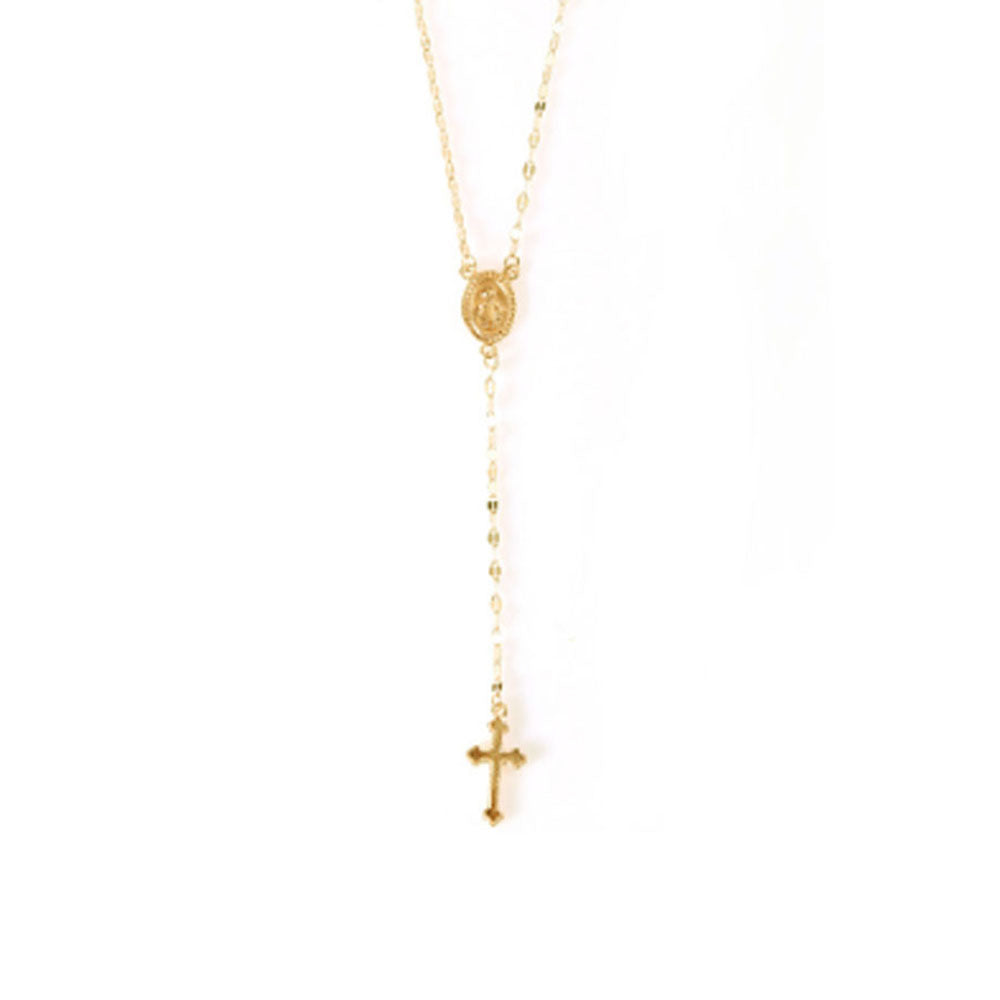 22K Gold plated Long Cross Necklace-Romatco