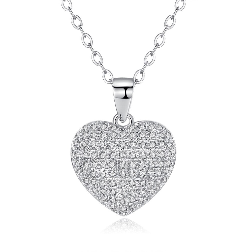 18K White-Gold plated Puffed Heart Necklace