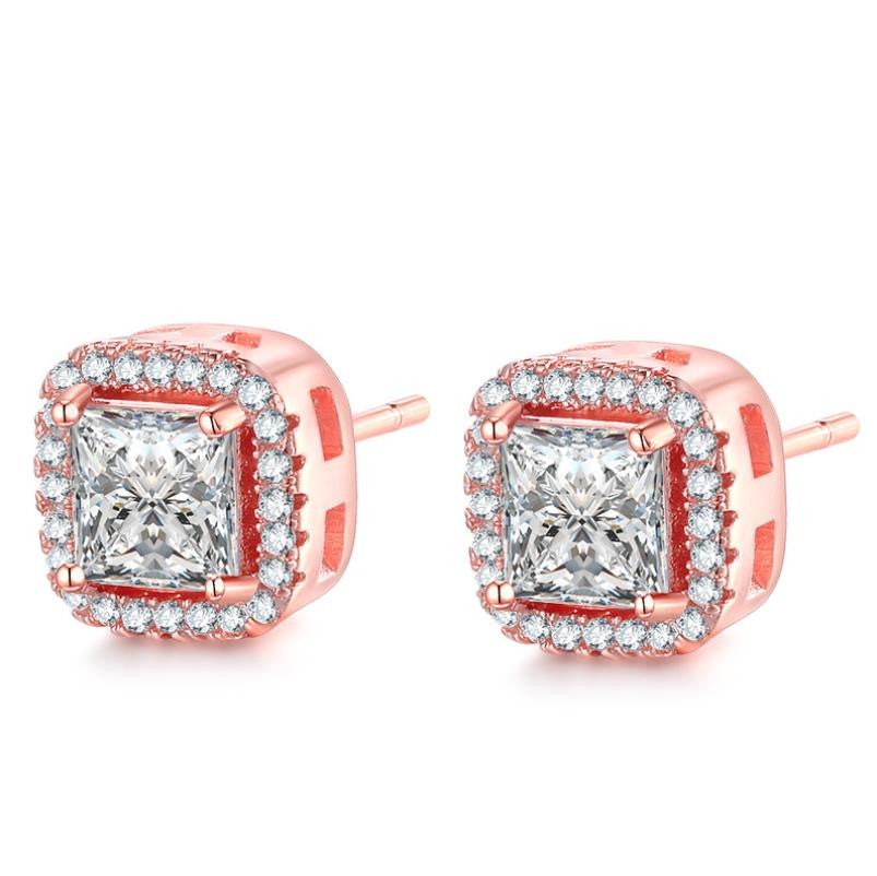 14K Rose-Gold plated Rose-Gold Halo Stud Earrings-Romatco