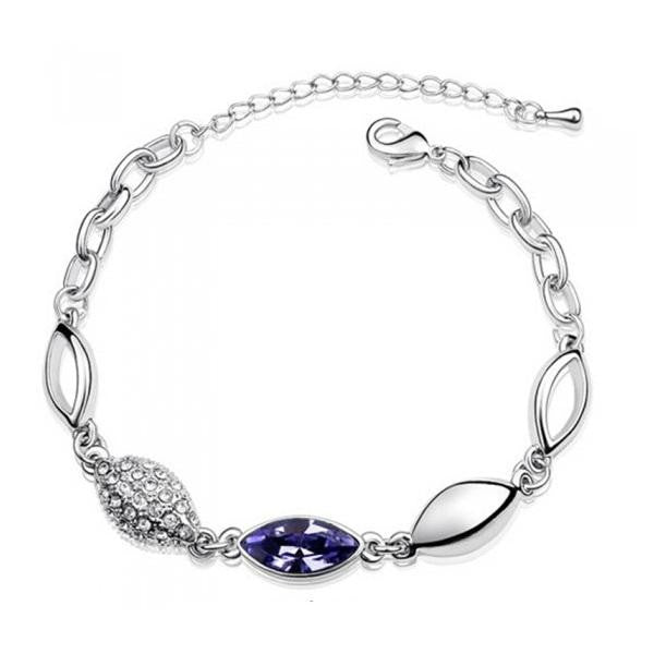 18K White-Gold Plated Arya Bracelet-Purple-Romatco
