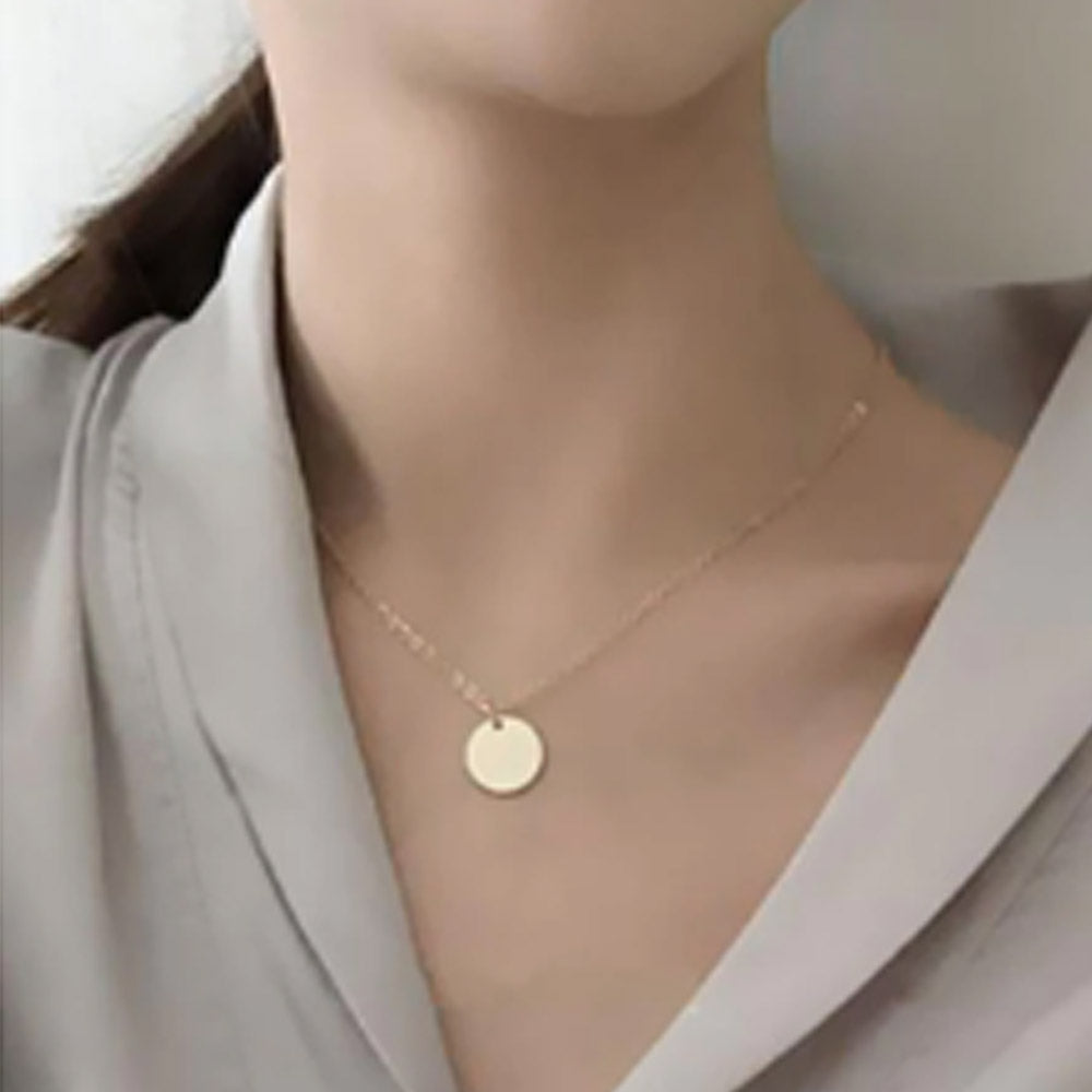 22K Gold Plated Round Charm Necklace-Romatco