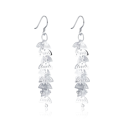 18K White-Gold Plated Umbrella Earrings-Romatco