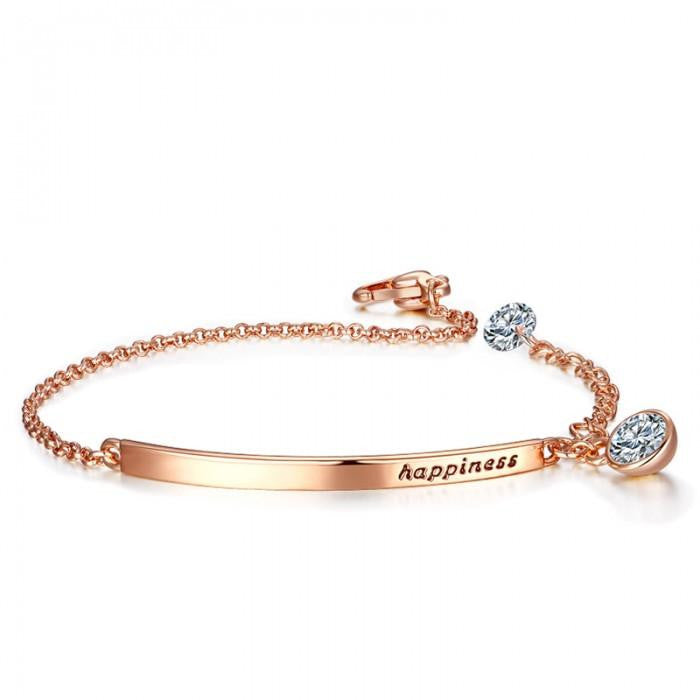 14K Rose-Gold plated Happiness Quoted Bracelet-Romatco