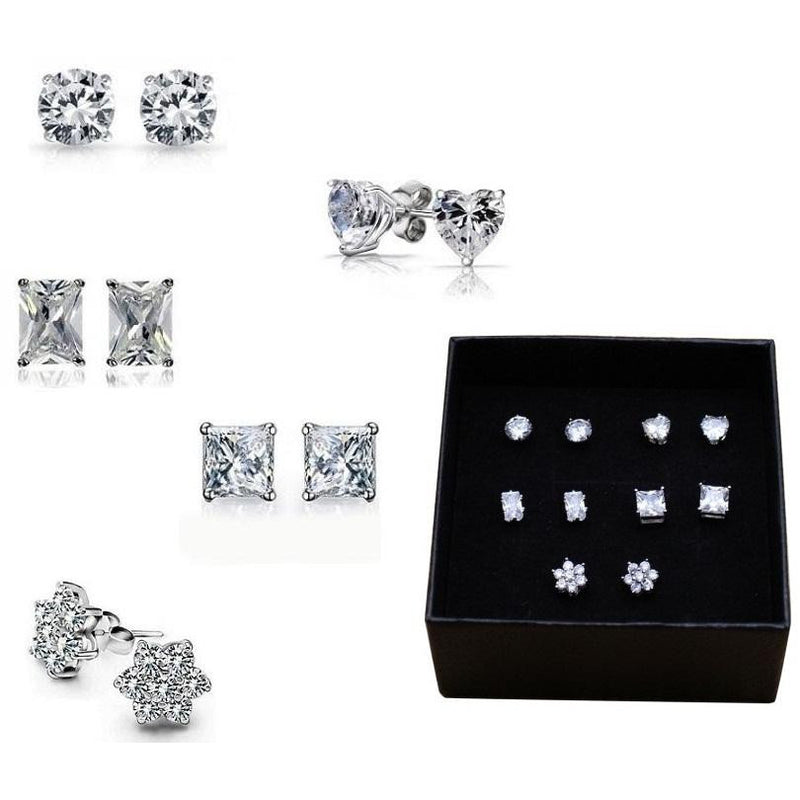 18K White-Gold plated Dazzler Set of 5 Stud Earrings Earrings romatco.myshopify.com