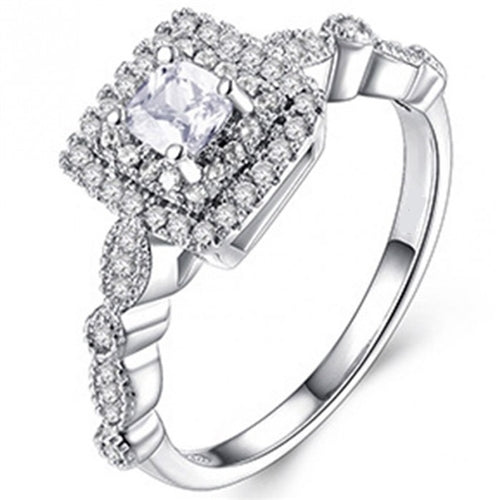 18K White-Gold Plated Olga Engagement Ring-Romatco
