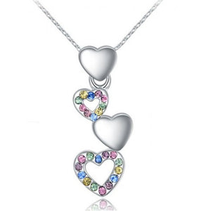 18K White-Gold Plated Sian Heart Necklace-Romatco