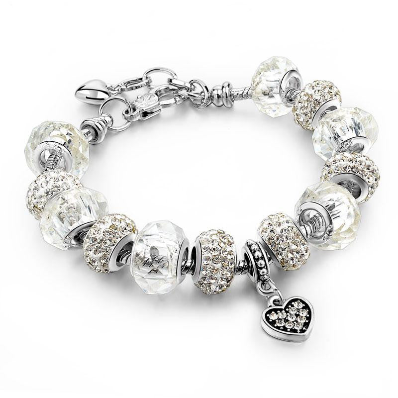 18K White-Gold Plated Darcey Charm Bracelet-Romatco