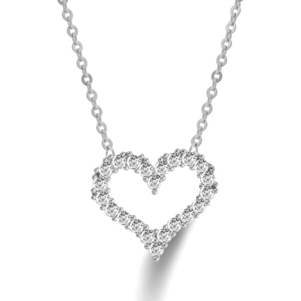 18K White-Gold plated  Micro Paved Hollow Heart Necklace