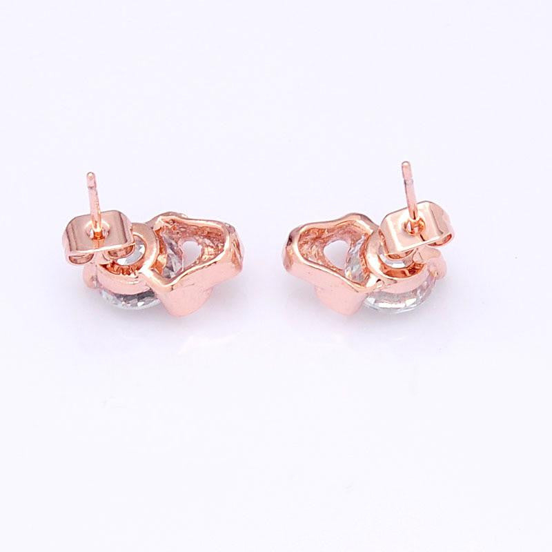14K Rose-Gold plated Skull Stud Earrings-Romatco