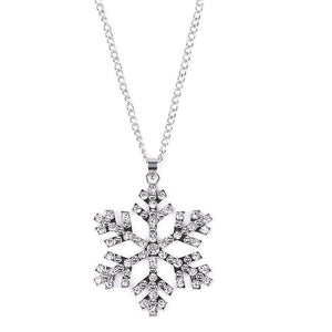 18K White-Gold Plated Snowflake Necklace Necklace romatco.myshopify.com