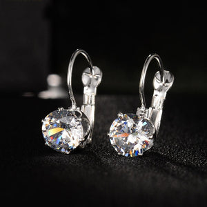 18K White-Gold Plated Drop Leverback Earrings-Romatco
