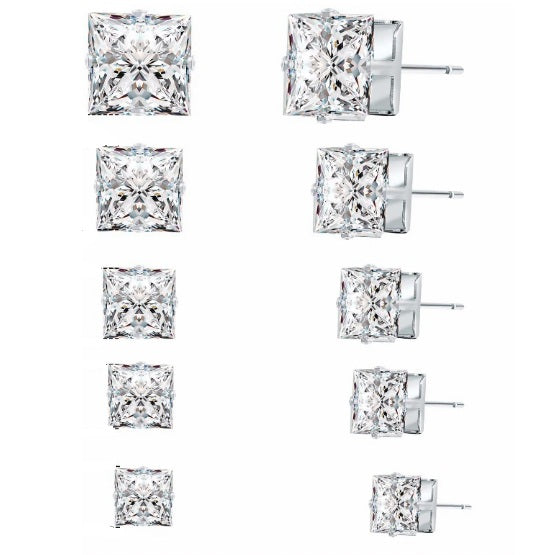 18K White-Gold plated Set of 5 Stud Earrings-Romatco