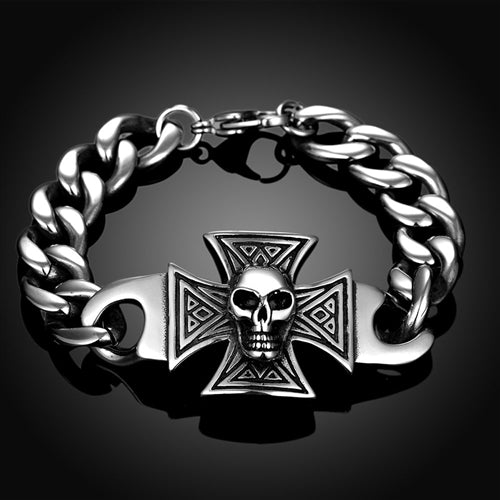 18K White-Gold Plated Skull-Cross Bracelet-Romatco