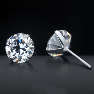 18K White-Gold plated Solitaire Stud Earrings Earrings romatco.myshopify.com