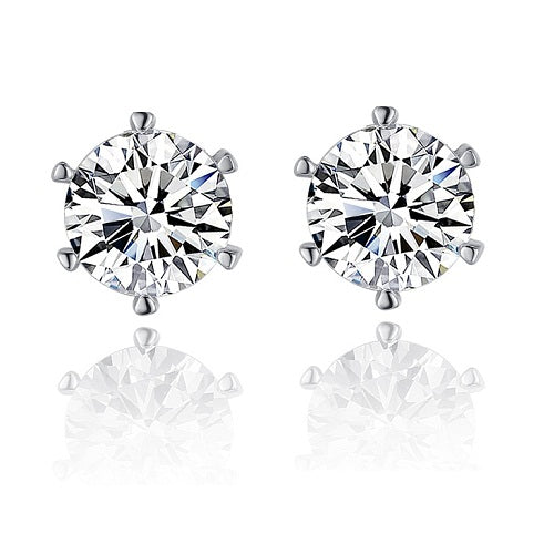 18K White-Gold plated Round Stud Earrings Earrings romatco.myshopify.com