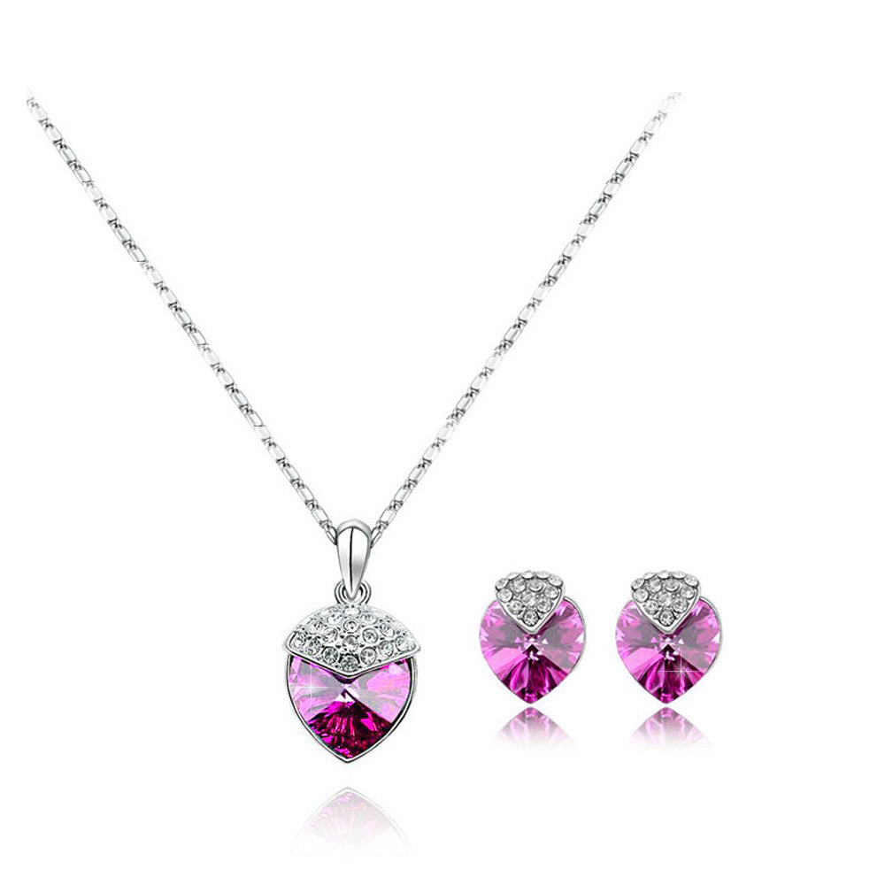 18K White-Gold Plated Isabella Set-Pink - Romatco Jewelry