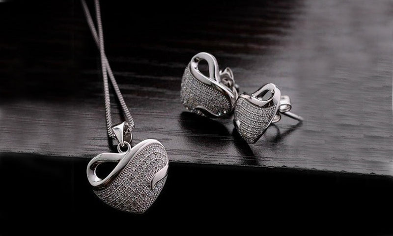 18K White-Gold Plated Valentine Set Jewelry Set romatco.myshopify.com