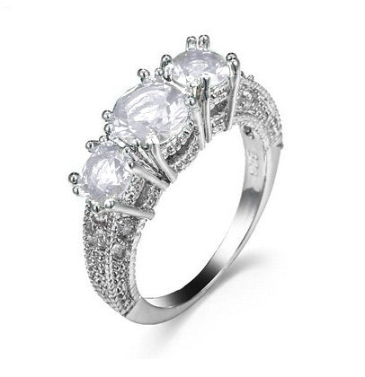 18K White-Gold Plated Tri Engagement Rings - Romatco Jewelry