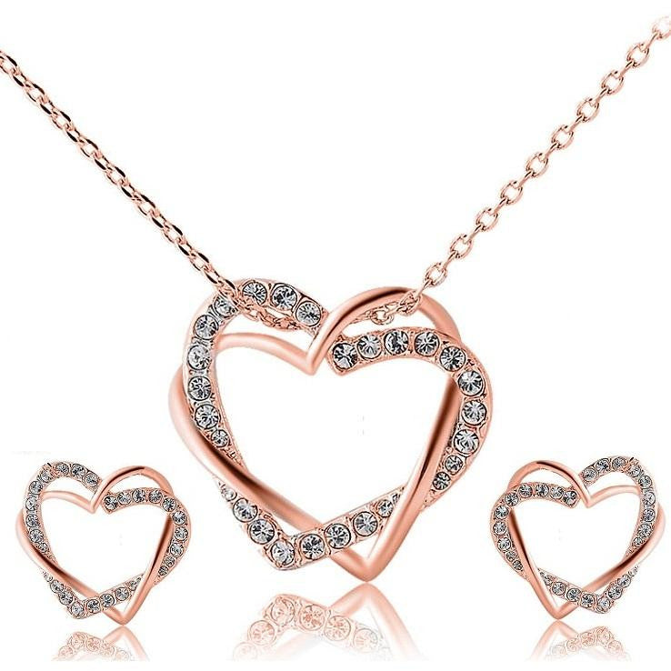 14K Rose-Gold Plated Twin Heart Set - Rose Gold