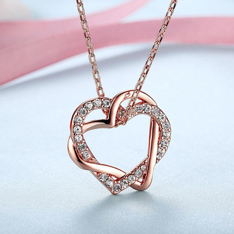 14K Rose-Gold Plated Twin Heart Set - Rose-Gold-Romatco