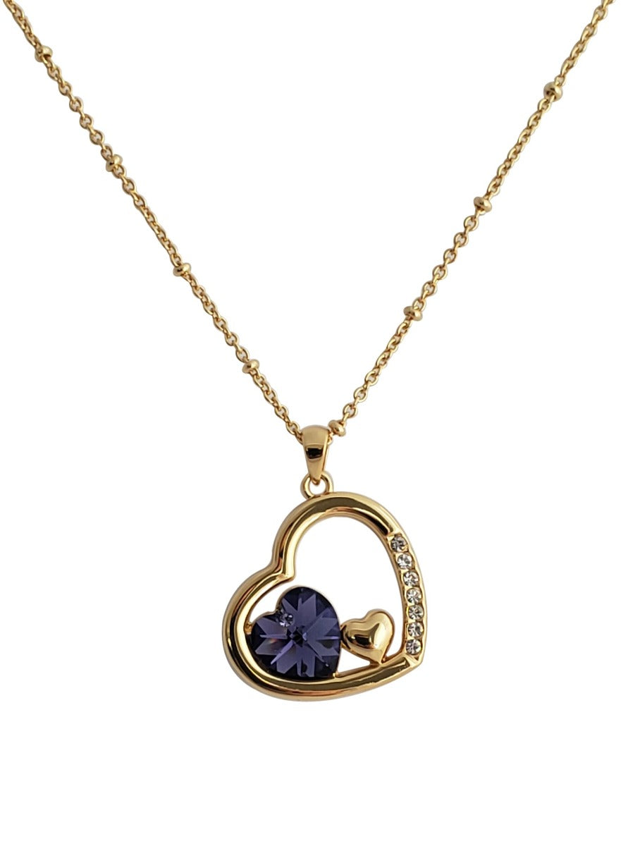 22K Gold Plated Crystal Heart Necklace