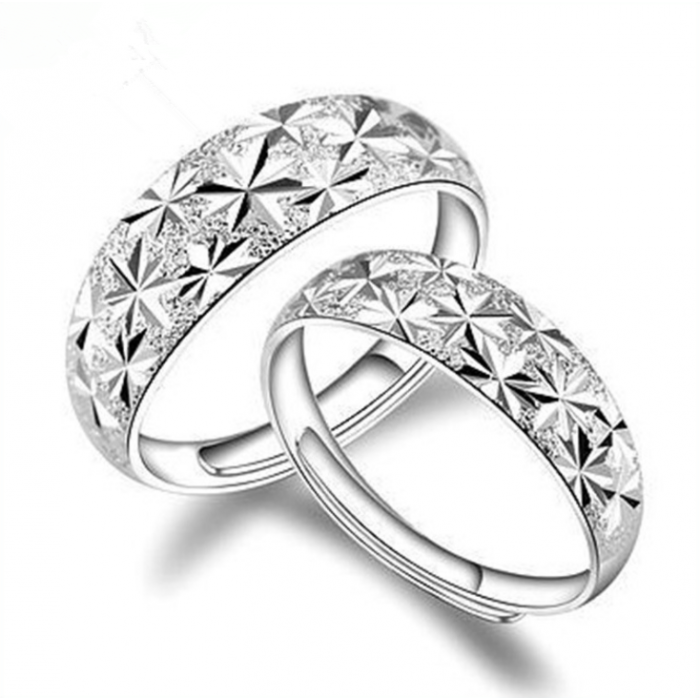 18K White-Gold Plated Floret Design Couple Rings-Romatco