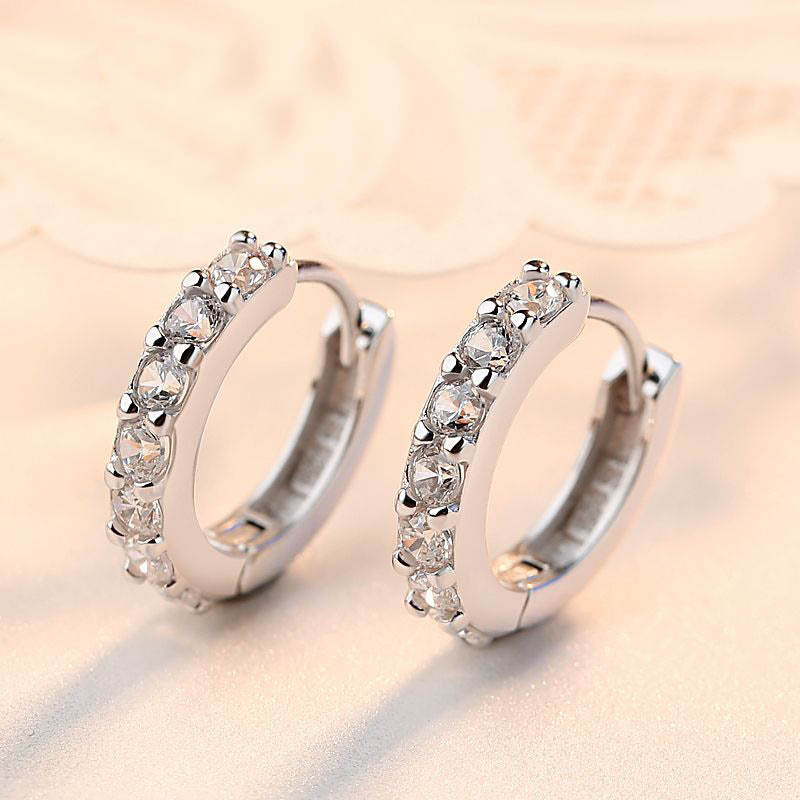 18K White-Gold Plated Silver Colour Hoops Decorated