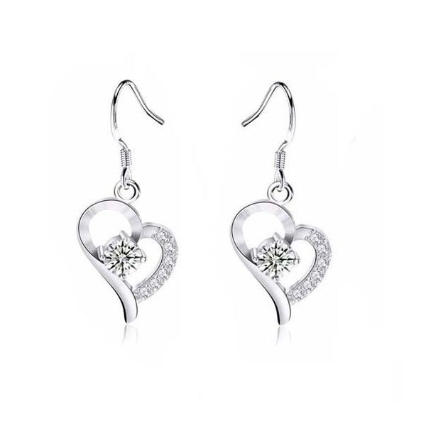 18K White-Gold plated Victoria Crystal Earrings-Romatco