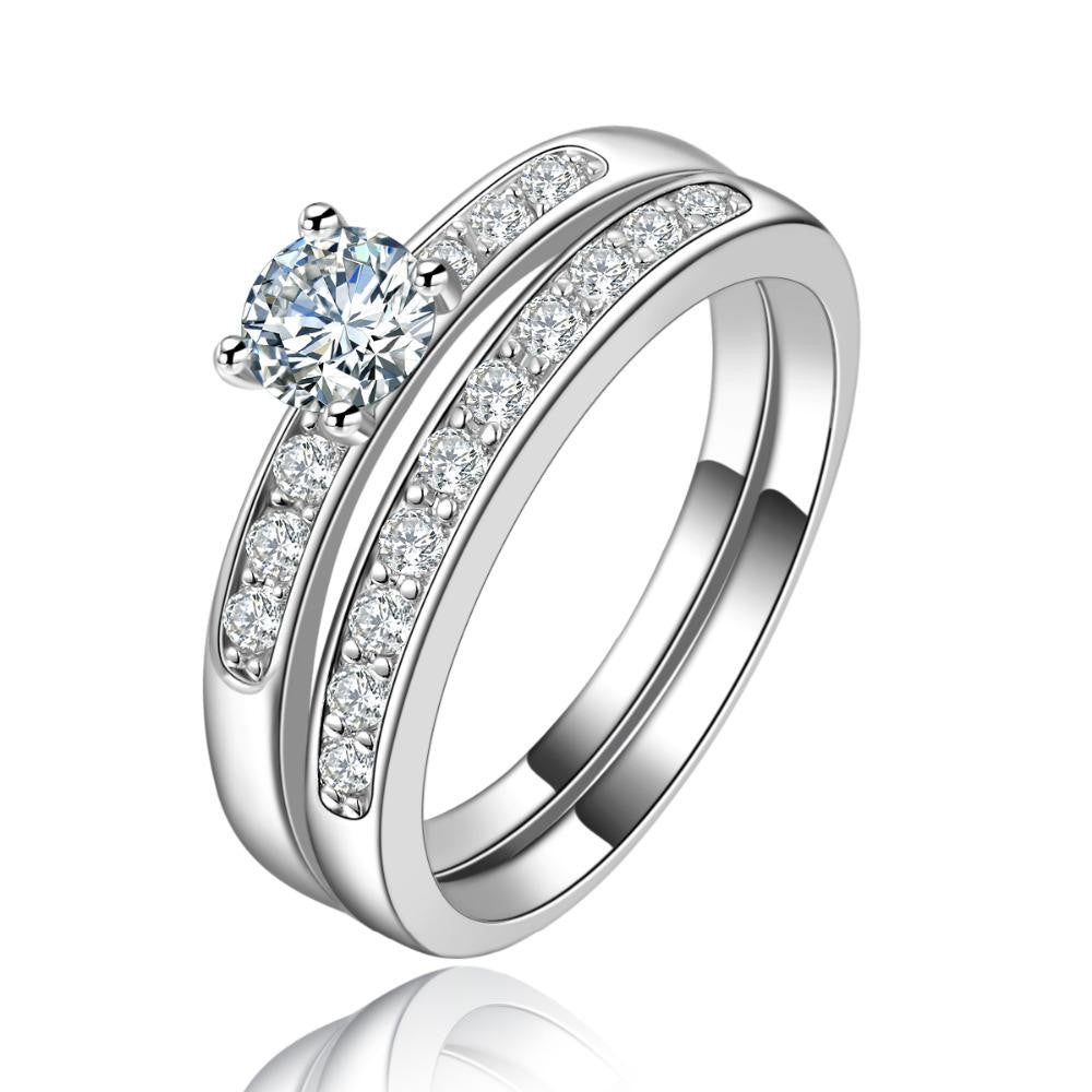18K White-Gold Plated Dual Soul Engagement Ring - Romatco Jewelry