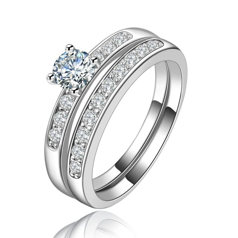 18K White-Gold Plated Dual Soul Engagement Ring