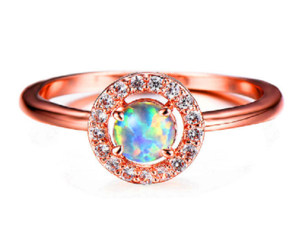 Opal Rose-Gold Spiritual Energy Ring-Romatco