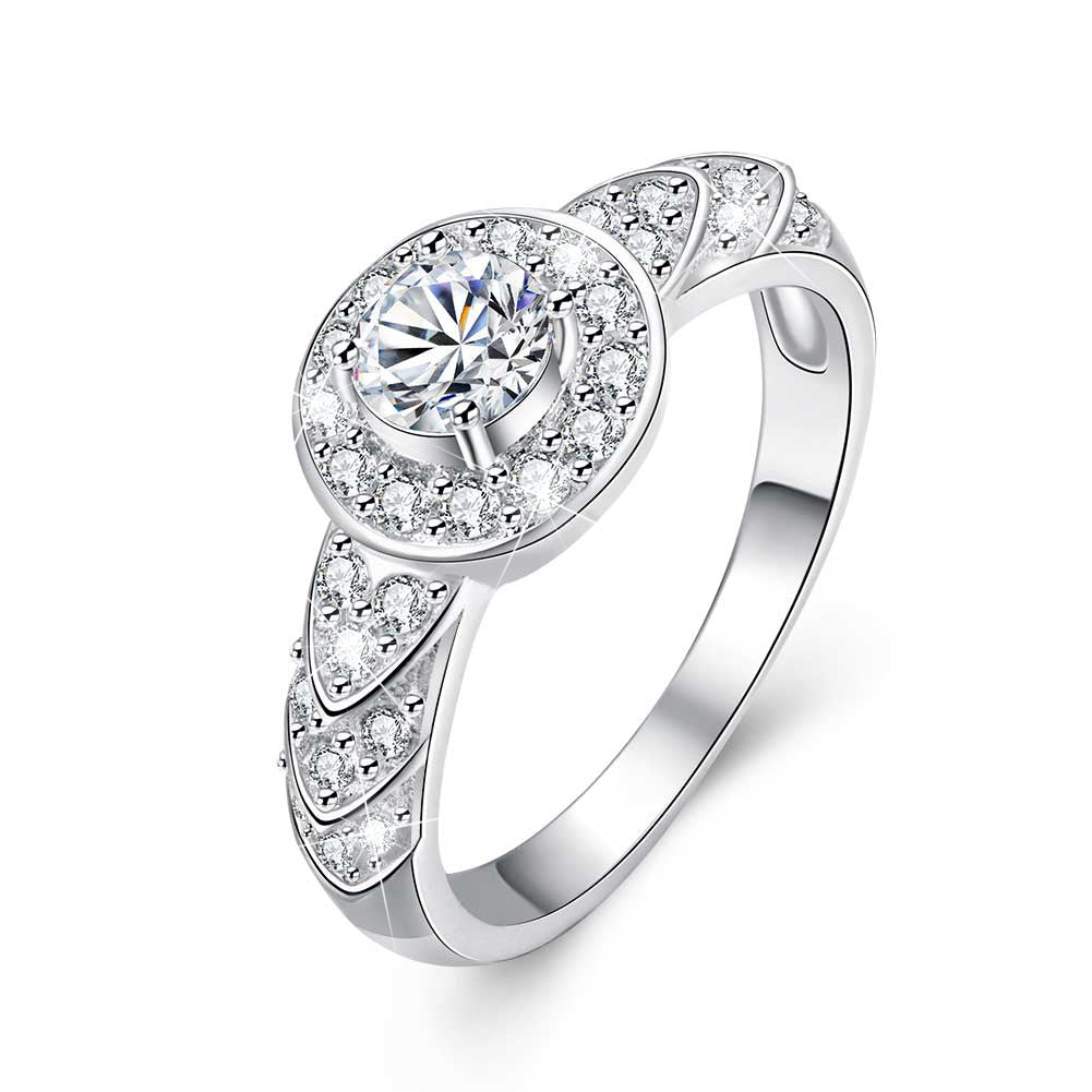 18K White-Gold Plated Round Cut Engagement Ring-Romatco